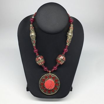 Turkmen Beaded Necklace Antique Afghan Tribal Red Carnelian flower Pendant VS193