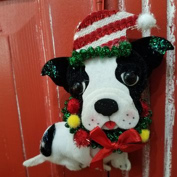 Boston Terrier Dog Felt Ornament