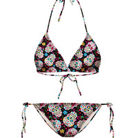 Colorful Skull Print Halter String Bikini