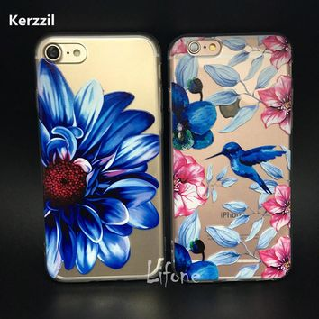Kerzzil 3D Relief Painted Flower Cases For iPhone 6 6s 7 Plus Silicone Cute Flamingo Unicorn Phone Back Cover For  iPhone 7 6 6s