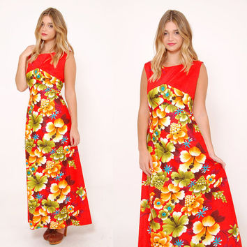 Vintage 70s Floral HAWAIIAN Dress Hawaii Maxi Dress TIKI Dress LUAU Dress  Rockabilly Dress