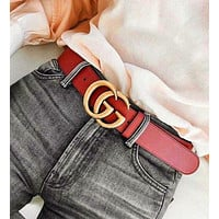 GUCCI Woman Fashion Casual Classic Smooth Buckle Belt Leather Belt