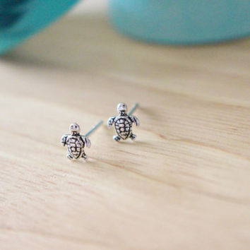 Sterling Silver Turtle Studs Ear Tiny Earrings