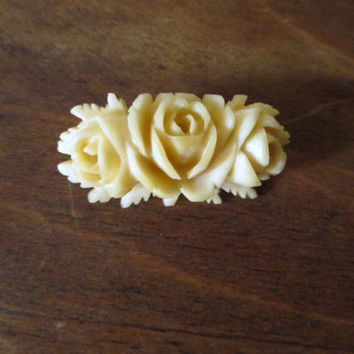Rose Brooch handcarved bone ivory color pin rosebuds roses vintage antique 40s 1940s victorian style