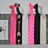Hair Ties ~ 6 Pack Pink, Black Gold Arrows, White, Pink Gold Dots, White Gold Dots Handmade Trendy Ponytail Holders Knotted Elastic Yoga