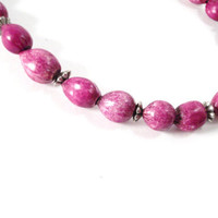 Purple and Silver Beaded Necklace by colorsoulartistry on Etsy