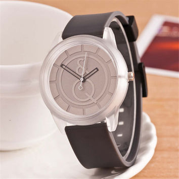 HIGHT QUALITY WOMENS FASHION CASUAL SILVER DIAL SILICONE SPORTS WATCH  384