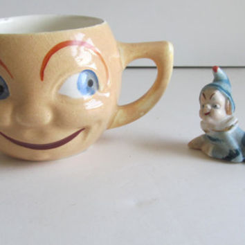 anthropomorphic Cup Happy Face Smiley Face Cup Czech China Cup Big Blue Eyes J M Porcelanit Made Czechoslovakia Porcelain Cup with Face Mug