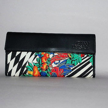 Authentic Gianni Versace Vintage Checkered Multicolor Wallet