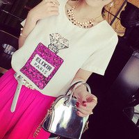 Pink Sequin Paris Perfume Bottle T-Shirt