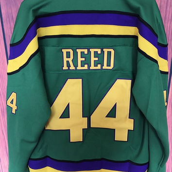 Mighty Ducks Movie Jersey #44 Fulton Reed Hockey Jersey Stitched All Sewn