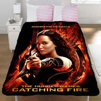 Hunger Games Catching Fire Katniss Everdeen Jennifer Lawrence Collection Gift Throw Fleece Blanket L, XL - 004