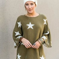 Shredded Star Sweater - Olive