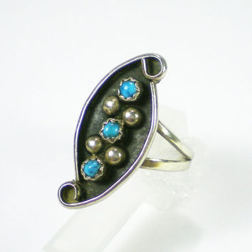 Turquoise  Jewelry Turquoise Ring Zuni Vintage Sterling Silver Ring  Circa 1950- 1960 , Hip Ring