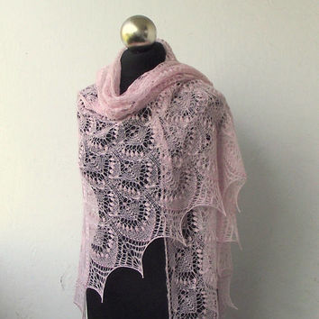 Light Pink  beaded  hand knitted lace shawl with nupps ,Queen Silvia cobweb shawl, bridal shawl