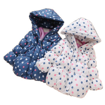 Girls Cute Polka Dot Thick Winter Warm Coat