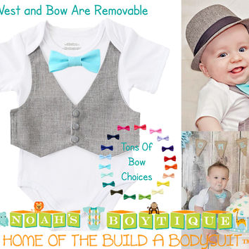 Baby Boy Clothes - Cake Smash Outfit - Vest Bow Tie - Cute Baby Clothes - Newborn Boy - Baby Boy Outfits - Baby Boy Toddler Shirt - Easter - Noah's Boytique
