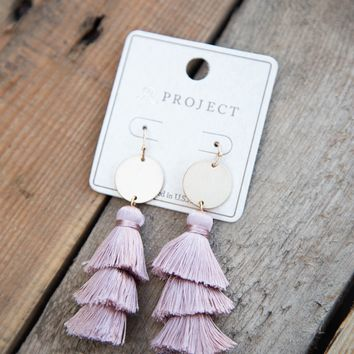 Tiered Thread Tassel Earring, Mauve