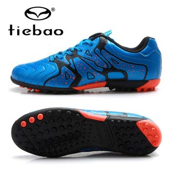 TIEBAO Professional Soccer Cleats 30-36 Size Boys Teenagers New Arrival Football Boots TF Turf Soles Blue Shoes Scarpe Da Calcio