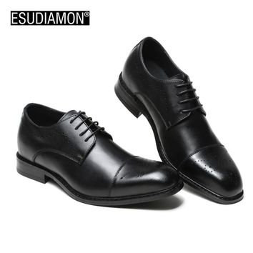 ESUDIAMON 2017 New Spring And Autumn Breathable Men Fashion Brogue Shoes Formal Mens Dress Shoes Lace-Up Genuine Leather Shoes