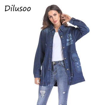 Trendy Dilusoo Women Basic Coats Denim Long Jackets Letter Painting Autumn Europe Denim Coats Women Streetwear Loose Casual Winter Coat AT_94_13