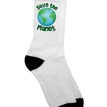 Save the Planet - Earth Adult Crew Socks
