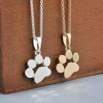 Cute Pets Dogs Footprints Paw Chain Pendant Necklace Necklaces & Pendants Jewelry