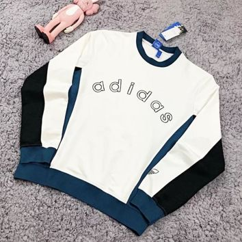 Adidas New fashion bust embroidery letter couple leisure splice long sleeve top sweater