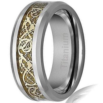 CERTIFIED 8MM Men's Titanium Ring Wedding Band | Gold-Plated Celtic Dragon Design
