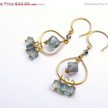 25% OFF STOREWIDE SALE Green Fluorite Teardrop Chandelier Earrings - 24K Gold Plated Sterling Silver Earrings