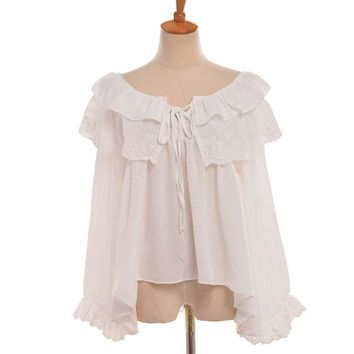 Cute Girls White Ruffle Blouse Slash Neck Collar Shoulder off Women Long Sleeve Irregular Hem Shirt Tops