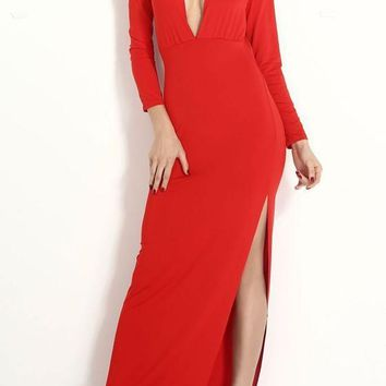 Red Side Slit Backless Plunging Neckline Long Sleeve Fashion Maxi Dress