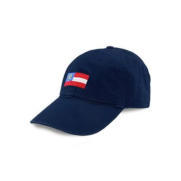 Georgia State Flag Needlepoint Hat in Navy by Smathers & Branson