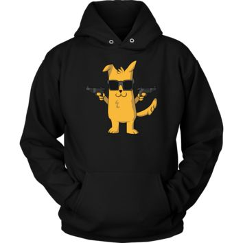 Dog with Gun Hoodie - Funny Dog Lovers Gift