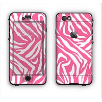 The Pink & White Vector Zebra Print Apple iPhone 6 Plus LifeProof Nuud Case Skin Set