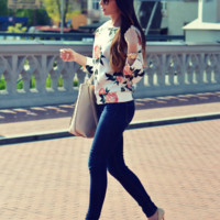 Rose Floral Print Pullover Shirt