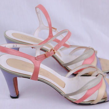 1940s Spring fling Strappy pastel heels Size 8B