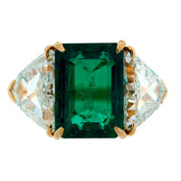 Harry Winston Colombian Emerald (Gubelin Cert) Diamond Yellow Gold Ring