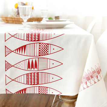 2016 new arrival pastoral style woven tablecloth fish print linen table cloth rectangular home table cover decoration waterproof