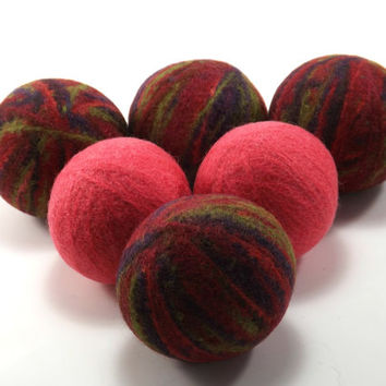 Felted Wool Dryer Balls - Coral and Multicolored Eco-Friendly Laundry Balls - Chemical Free fabric softener - cat toys - static free laundry