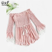 Dotfashion Smocked Bodice Drawstring Waist Romper Women's Pink Off the Shoulder Boho Romper Lace Trim Bell Sleeve Playsuit