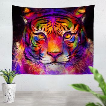 Psychedelic Tiger Tapestry