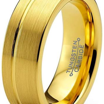 Isadore Yellow Tungsten Wedding Band Flat Cut Brushed Polished With Grooved Center - 6mm