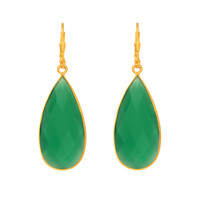 Long Teardrop Faceted Green Onyx Earrings Set In Yellow Gold Plated Sterling Silver