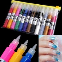 DCK9M2 12 Colors Nail Art Pen for 3D Nail Art DIY Decoration Nail Polish Pen Set 3D Design Paint Pen#LY020