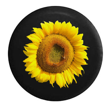 Bright Yellow Vibrant Sunflower Jeep RV Camper Spare Tire Cover P329