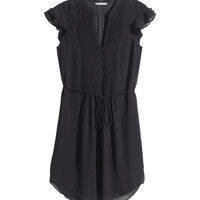H&M - Dress with Butterfly Sleeves - Black - Ladies