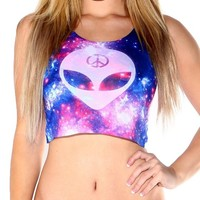 iHeartRaves We Rave in Peace Alien Crop Top (Small/Medium)