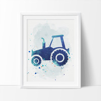 Construction Tractor, Tractor, Printable Art,  Boys Nursery Printable, Watercolor Art, Colorful Nursery Art, Kids Wall Art, Instant Download