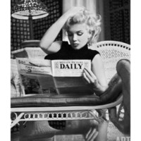 Marilyn Monroe Reading Motion Picture Daily, New York, c.1955 Art Print by Ed Feingersh at Art.com